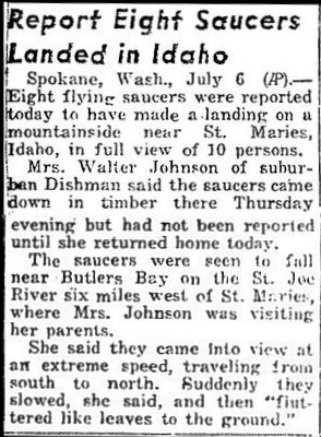 Eight Saucers Land in Idaho 7-6-1947
