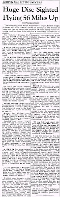Huge Disc Sighted Flying 56 Miles Up - By Frank Scully - Charleston Daily Mail - Feb 3, 1951