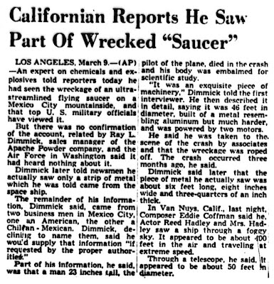 Californian Reports He Saw Part of Wrecked Saucer - Dayton Journal 3-10-1950