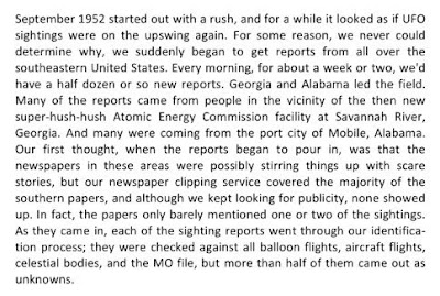 Savannah River H-Bomb UFO Activity (A) - Excerpt From Ruppelt Book 1956