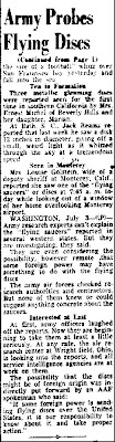 Flying Disc Stories Being Probed By Army (Cont) - San Mateo Times 7-3-1947