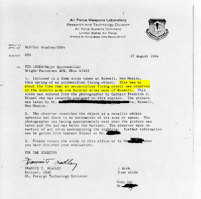 FTD Letter Re UFO OVer Roswell March 1964 (2) (Emphasis Socorro)