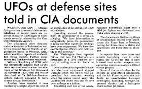 UFOs at Defense Sites Told in CIA Documents