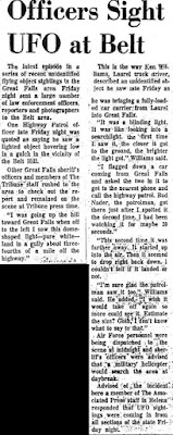 Officers Sight UFO at Belt Great Falls Tribune  3-25-10