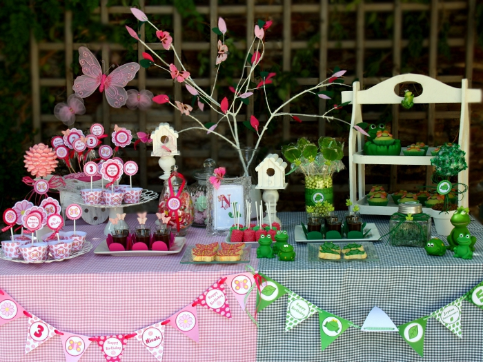 Joint Butterfly & Frog Garden Birthday Party - BirdsParty.com