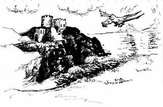 black and white picture of a dragon over a castle - drawn ages ago