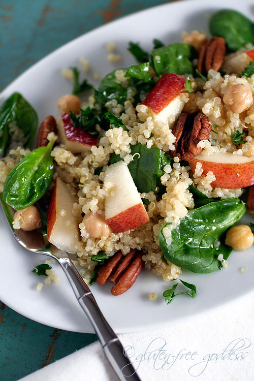 Gluten free quinoa salad recipe with pears and chick peas