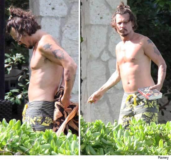 Johnny Depp in Maui taking a break from filming 8/2/10.