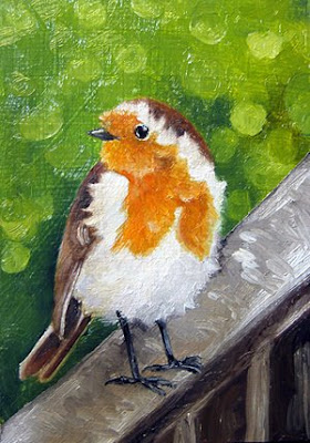 robin oil painting