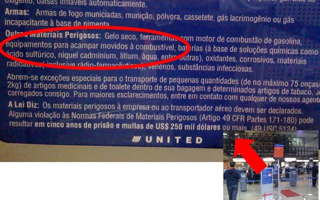 Proibido trazer materiais movidos a combustível com crase