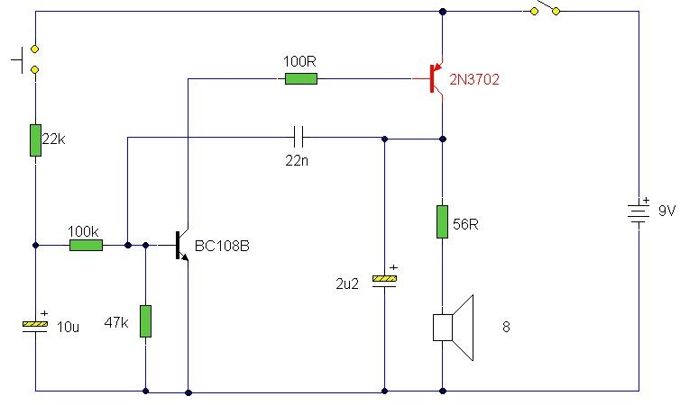 Electrically Operated Siren By 2n3702 And Bc108b