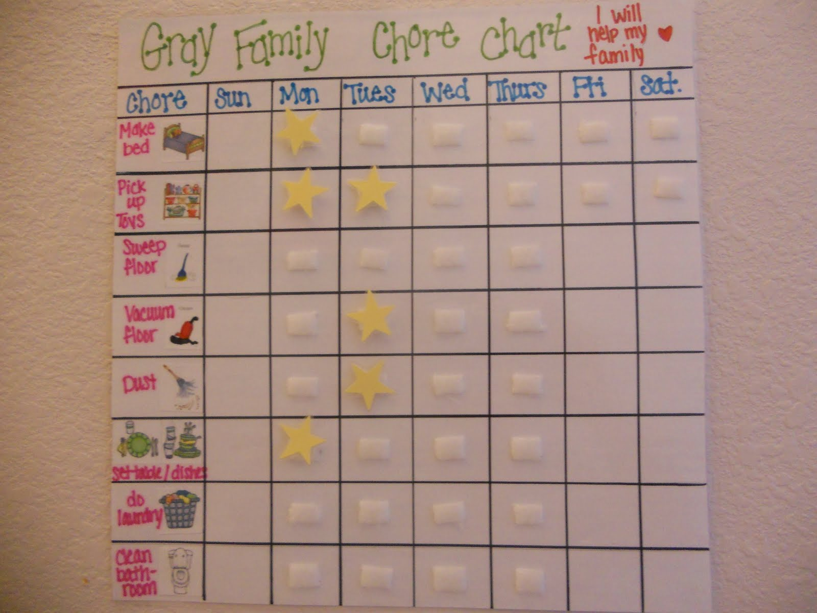chore list template for kids - for my kids chore chart for the little ones