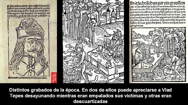 """10 +Grabados+de+la+%C3%A9poca+de+Vlad+Tepes,+el+verdadero+Dracula,+comiendo+mientras+mutilaba+a+sus+victimas - Drácula """"El Empalador"""". La realidad siempre supera a la ficción"""
