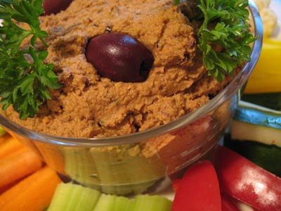 Sun-Dried Tomato and Olive Hummus with Goat Cheese