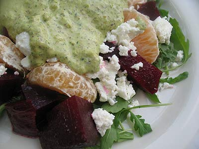 Roasted Beet Salad with Pistachio Pesto and Goat Cheese Served over Fresh Arugula