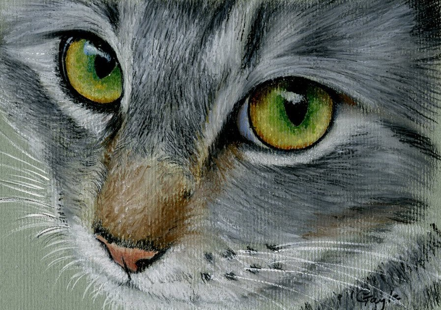 Fur In The Paint Silver Tabby Cat In Oil Pastel
