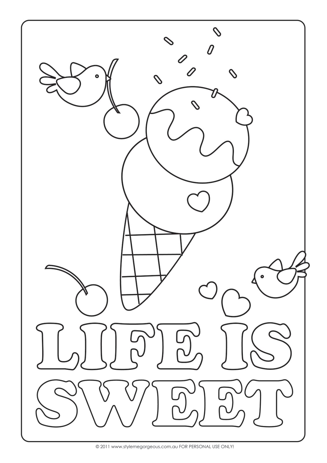 Style me gorgeous february 2011 for Sweet treats coloring pages