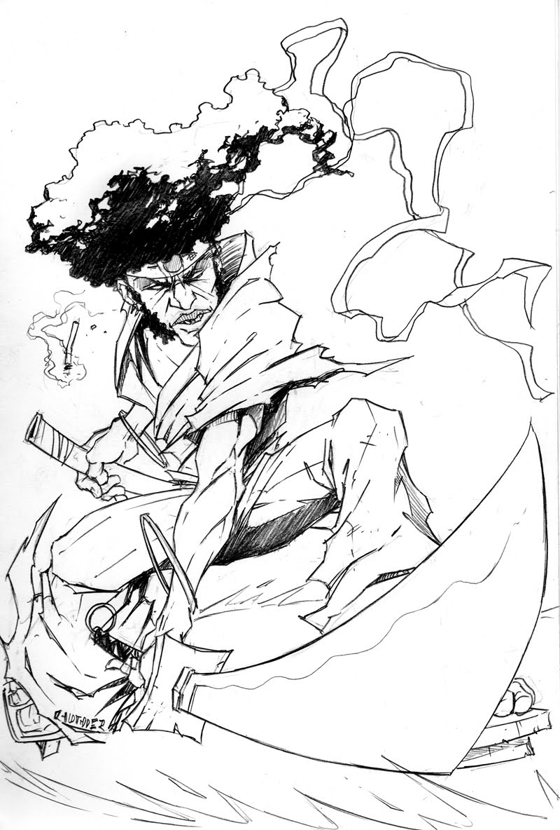 afro samurai coloring pages - anime samurai coloring pages