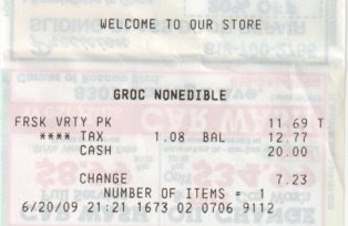 Grocery receipt, photo by Rosemary West © 2009