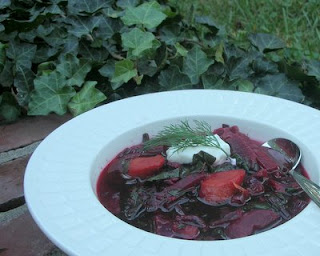 A gorgeous bowl of soup, with no waste since it includes the beets, the stems and the greens