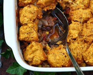 Supper Casserole with Pumpkin & Green Chile Cornbread Topping