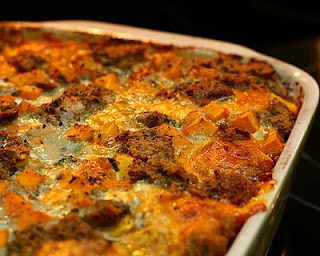 Savory Bread Pudding with Butternut Squash, Chard & Cheddar