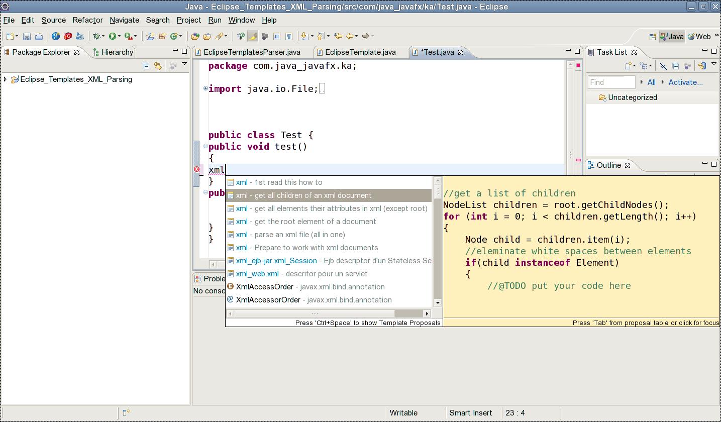 jcafe info: Java XML XPath - Eclipse Templates - Ready to use