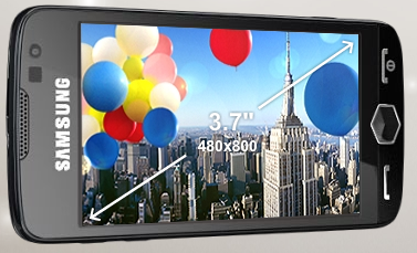 Samsung Omnia II 3.7-inch AMOLED display screen with a WVGA resolution of 480x800
