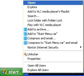 start menu right click options