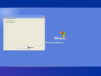 Legal Notice dialog box during system startup in Windows XP