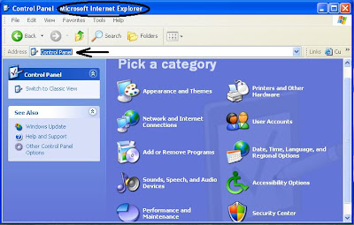 Access Control Panel from Internet Explorer