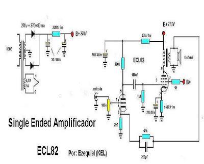 1 000 000 de Circuitos Eletrônicos Audio: AMP ECL82 = 6BM8