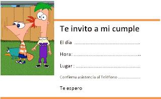 Tarjeta Invitacion Cumpleaños De Phineas Y Ferb Imprime