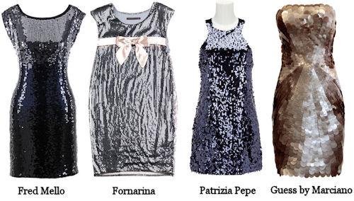 party dress pagliette Fred Mello, Fornarina, Patrizia Pepe, Guess by Marciano