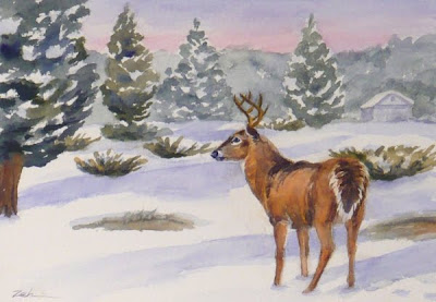 Whitetail deer, buck in snow watercolor painting