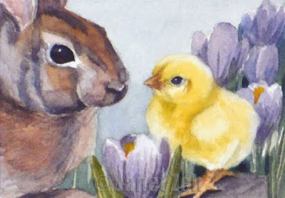 Bunny and Chick watercolor painting