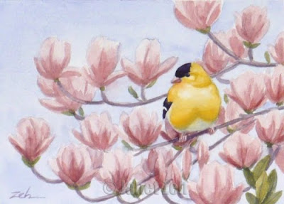 Goldfinch and Magnolia Blossoms watercolor painting