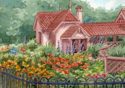 Zeh Original Art Blog Watercolor And Oil Paintings English Cottage Garden Duck Island