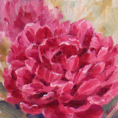 Pink Peony oil painting by Janet Zeh