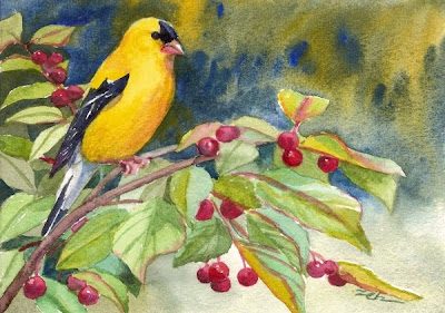Goldfinch in Crabapple Tree watercolor painting by Janet Zeh