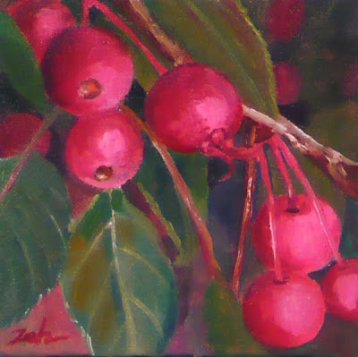 Crabapples oil painting by Janet Zeh Original Art