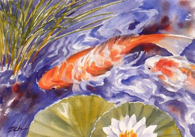 Koi fish in a Lily Pond watercolor painting