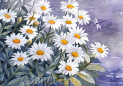 daisies watercolor painting