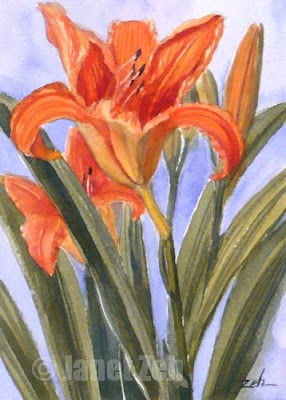 orange daylilies watercolor