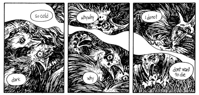Farmer Ben witnesses dying sapient chickens in ELMER #2