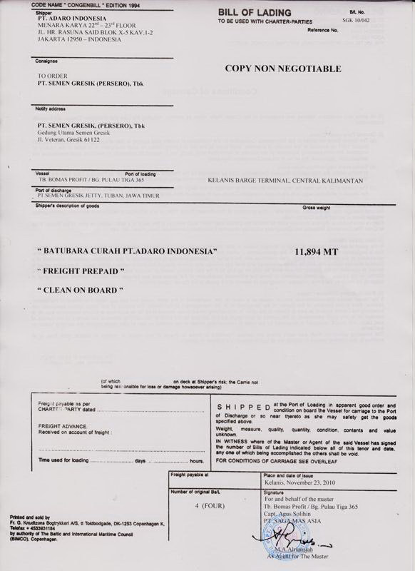 Contoh Surat Loi Kapal Tongkang