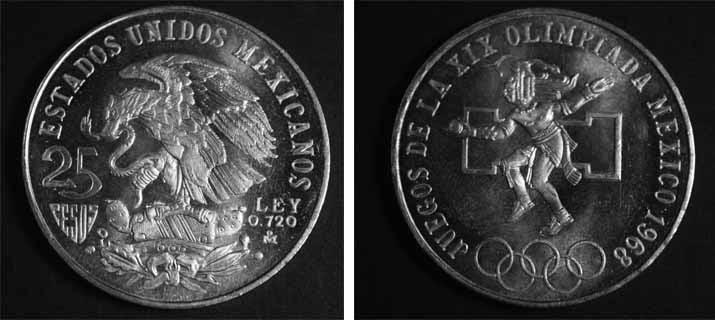 Monedas De Mexico 25 Pesos Mexico 68 Plata Ley 0 720