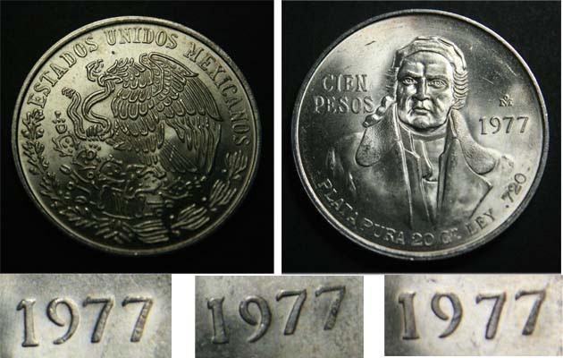 Mexico 100 Peso Morelos Silver 1978 UNC