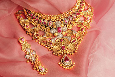 Antique Finished 22 Carat Gold Designer Heavy Bridal Necklace Sets Studded With Ruby And Emeralds From Tbz Jewellery These Kind Of Likes To Wear
