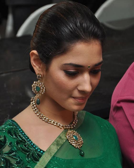 tamannah looking in green saree unseen pics